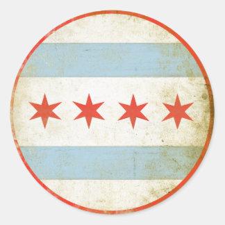 動揺してなシカゴの旗のプリントが付いているステッカー ラウンドシール