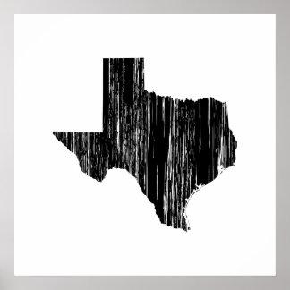 動揺してなテキサス州の州の輪郭 ポスター