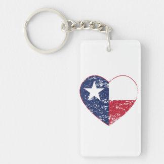 動揺してなテキサス州の旗のハート キーホルダー