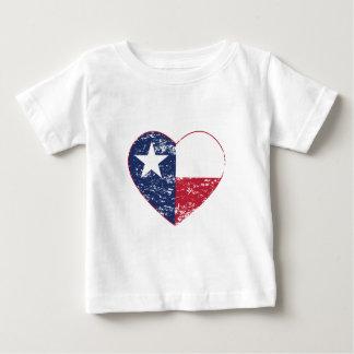 動揺してなテキサス州の旗のハート ベビーTシャツ