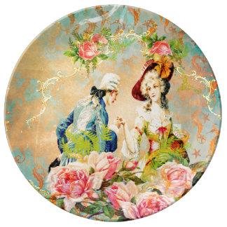動揺してなフランスのな愛の色彩の鮮やかなタツノオトシゴ 磁器プレート