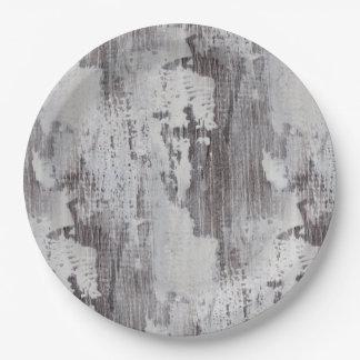 動揺してなマウイによって水漆喰を塗られるカシ木穀物の一見 ペーパープレート