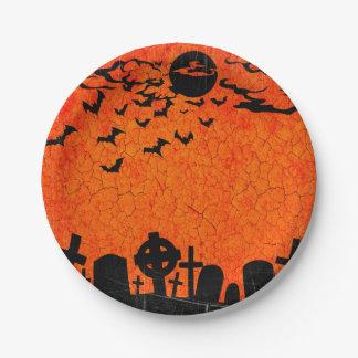動揺してな墓地-ハロウィンのオレンジ黒いプリント ペーパープレート