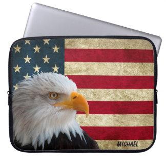 動揺してな米国の旗のワシ ラップトップスリーブ