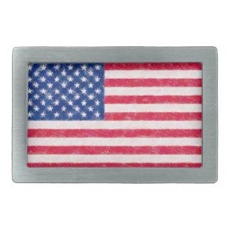 動揺してな米国旗のベルトの留め金 長方形ベルトバックル