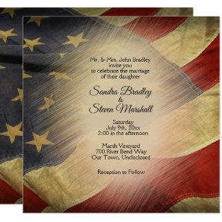 動揺してな米国旗の結婚式招待状 カード