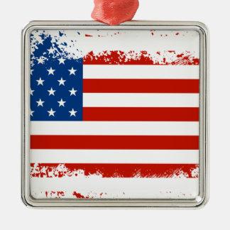動揺してな米国旗 メタルオーナメント