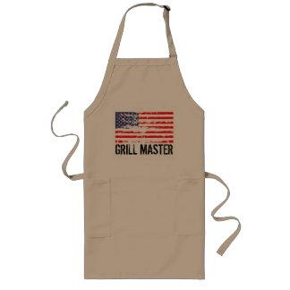 動揺してな米国旗BBQのエプロン|グリルのマスター ロングエプロン