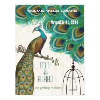 動揺してな花の孔雀の鳥かごの保存日付 ポストカード
