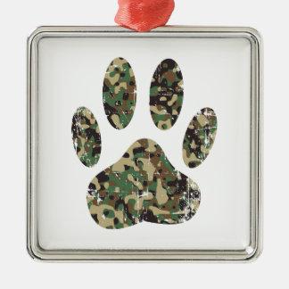 動揺してな迷彩柄犬の足のプリント メタルオーナメント