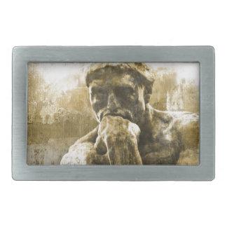 動揺してな青銅色の彫像オーギュスト・ロダン思想家 長方形ベルトバックル