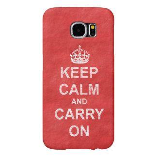 動揺してなKeep Calm and Carry Onのヴィンテージ Samsung Galaxy S6 ケース