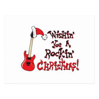 動揺のクリスマスのギターの招待状を望みます ポストカード