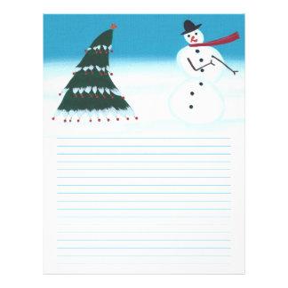 動揺の雪だるまおよび木のクリスマスレターヘッド レターヘッド