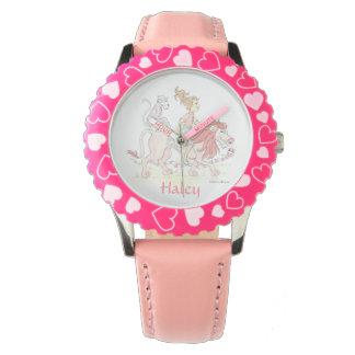 動物が付いている女の子の名前入りなピンクの腕時計 腕時計
