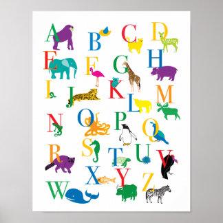 動物のアルファベットのプリント ポスター