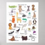 動物のアルファベットの図表のA-Zの芸術のプリント ポスター