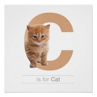 動物のアルファベットの養樹園の壁の芸術。 Cは猫のためです ポスター