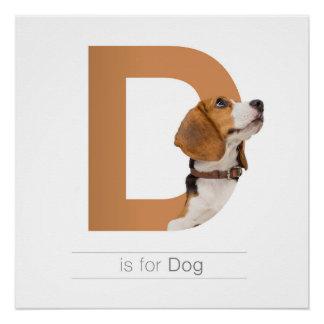 動物のアルファベットの養樹園の壁の芸術。 Dは犬のためです ポスター