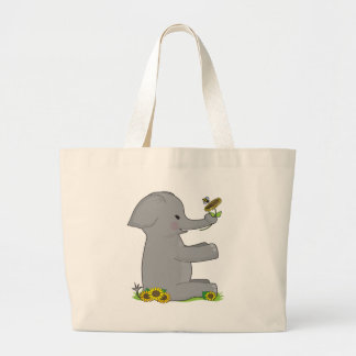 動物のアルファベット象 ラージトートバッグ