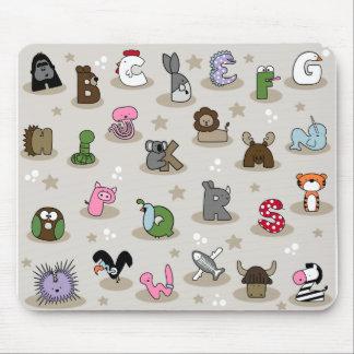 動物のアルファベット マウスパッド