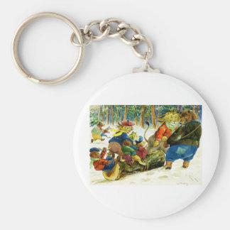 動物のクリスマス-ビュッシュ・ド・ノエルを得ること キーホルダー