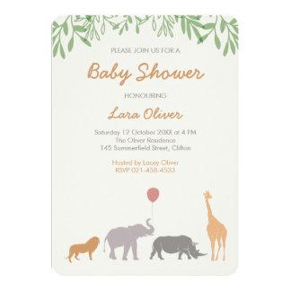 動物のサファリのベビーシャワーの招待状 カード