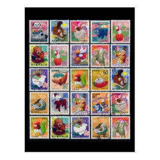 動物のスタンプパターンの日本かわいい年 ポストカード
