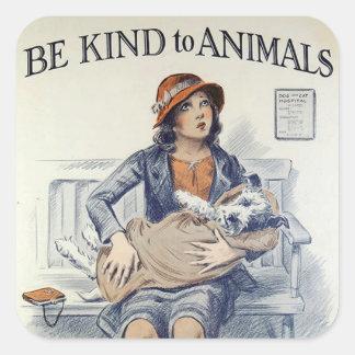 動物のステッカーに親切があって下さい スクエアシール