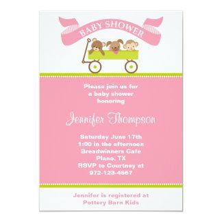 動物の友達のピンクのベビーシャワーの招待状 カード