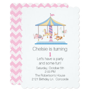 動物の回転木馬のBabysの最初誕生日の招待状 カード