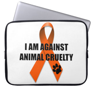 動物の残酷のオレンジ認識度のリボンに対して ラップトップスリーブ
