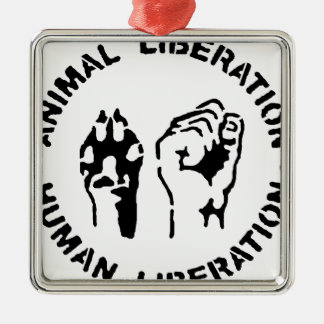 動物の解放-人間の解放 メタルオーナメント