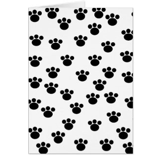 動物の足のプリントパターン。 白黒。 カード