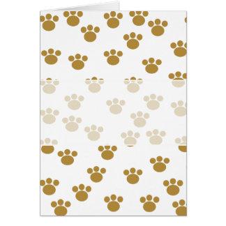 動物の足のプリント。 ブラウンおよび白いパターン カード