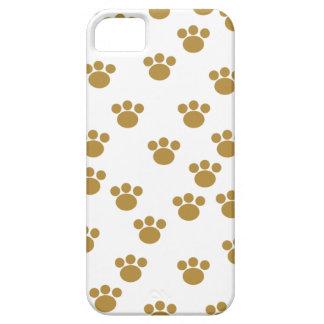 動物の足のプリント。 ブラウンおよび白いパターン iPhone SE/5/5s ケース