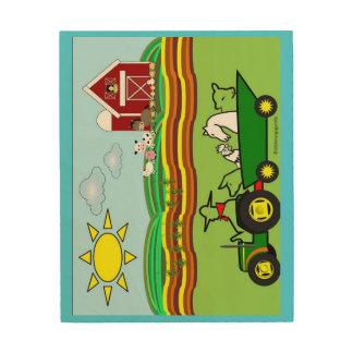 動物の農場構内場面トラクター ウッドウォールアート