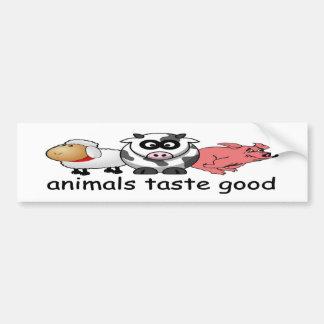 動物はよくおもしろいな肉食べる人のバンパーステッカーを味わいます バンパーステッカー