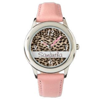 動物パターン、茶色、ピンク、モノグラム 腕時計