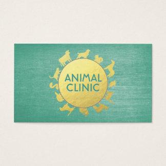 動物医院の病院のペットの世話の付き添いの金ゴールド動物 名刺