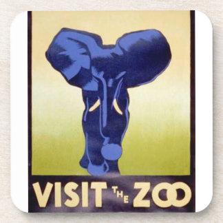 動物園のヴィンテージWPA FAPポスター象を訪問して下さい コースター