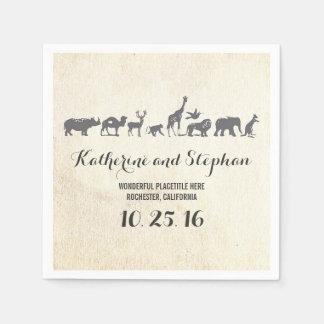 動物園の結婚式またはサファリの野性生物の紙ナプキン スタンダードカクテルナプキン
