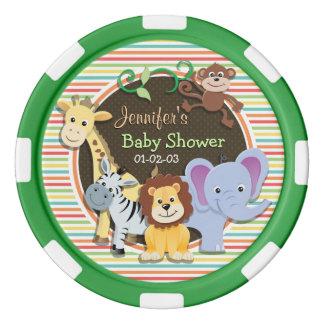 動物園動物のベビーシャワーは、明るい虹縞で飾ります ポーカーチップ