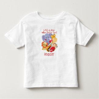 動物園動物の第2誕生日の子供はTシャツをカスタマイズ トドラーTシャツ