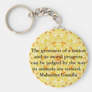 動物権の引用文- Mahatma Gandhi キーホルダー