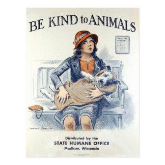 動物米国のヴィンテージの郵便はがきに親切があって下さい ポストカード