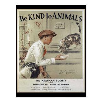 動物-ヴィンテージポスターに親切があって下さい ポストカード