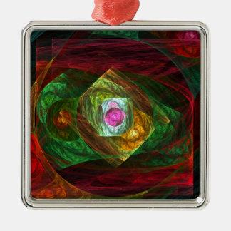 動的つながりの抽象美術の正方形 メタルオーナメント