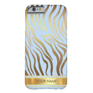 動的名前入りな皮の青い金ゴールドの魅力 BARELY THERE iPhone 6 ケース