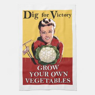 勝利の台所タオルのためのヴィンテージの発掘 キッチンタオル